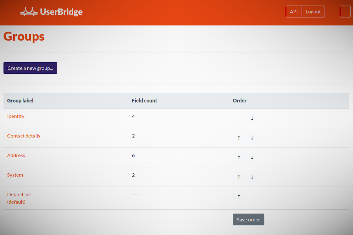 Photo showing how UserBridge Groups can be used to organize your user data fields